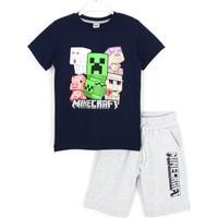 Minecraft Erkek Çocuk T-Shirt Şort Alt Üst Takım 5 - 13 Yaş Lacivert