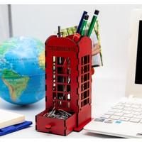 Quppa Masaüstü Kalemlik ve Ataşlık Londra Telefon Kulübesi Ahşap