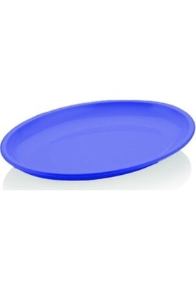 Biradlı Melamin Mavi Oval Tabak 55 x 39 cm