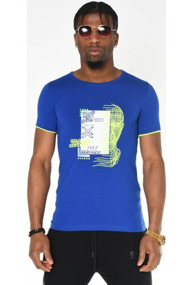 Saks Mavisi Neon Baskı Detaylı Bisiklet Yaka T-Shirt