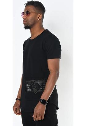 David&Gerenzo Siyah Kuru Kafa Taş Aksesuarlı Cep Detay Bisiklet Yaka T-Shirt