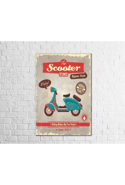 Fandomya Ahşap Poster Scooter Time 12X17CM + Çift Taraflı Bant