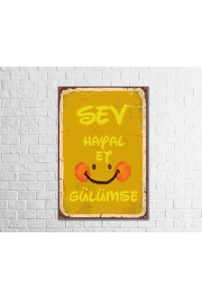 Fandomya Ahşap Poster Sev Hayal Et Gülümse 12X17CM + Çift Taraflı Bant