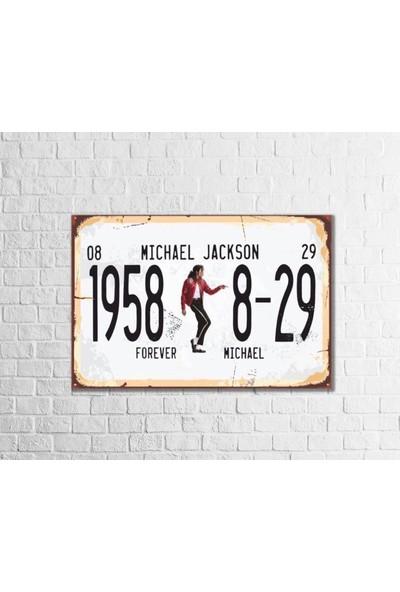 Fandomya Ahşap Poster Michael Jackson 12X17CM + Çift Taraflı Bant