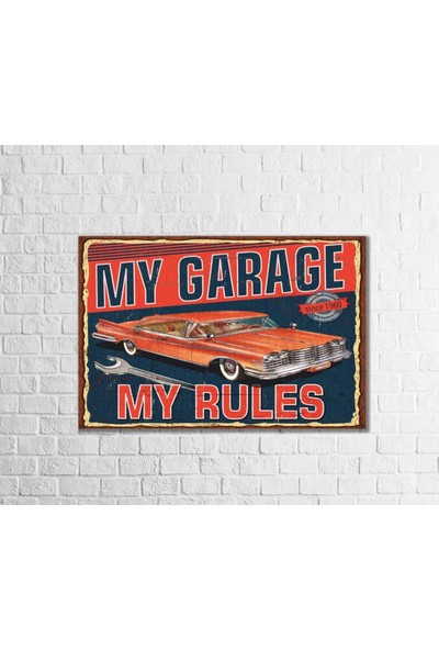Fandomya Ahşap Poster My Garage 12X17CM + Çift Taraflı Bant