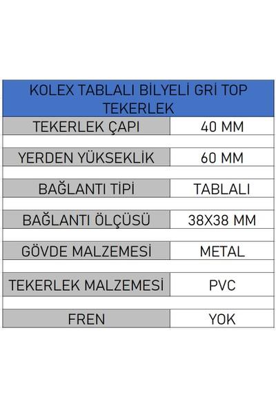 Kolex Döner Tablalı Bilyalı Mobilya Tekerleği Top Model (4 Adet)