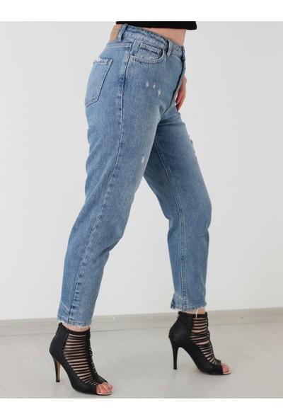 Ella Yüksek Bel Paça Detaylı Mavi Mom Jean Pantolon
