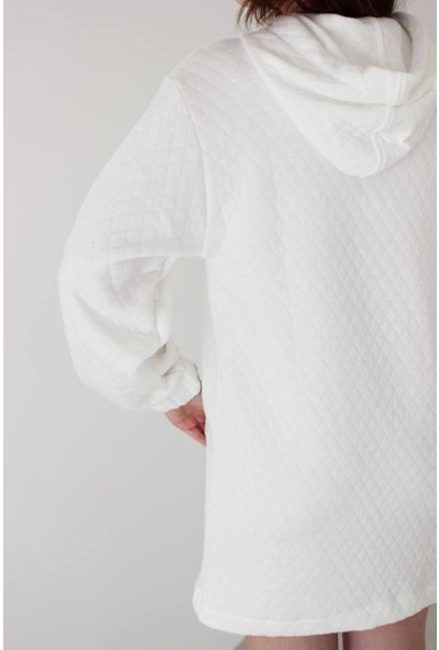 Hot Fashion Kapitone Kapüşonlu Cepli Mini Sweat Elbise