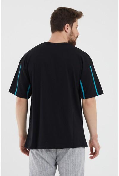 Tarz Cool Siyah Erkek Ön Çizgili Baskılı Kısa Kollu Oversize T-Shirt-Elointstr01S