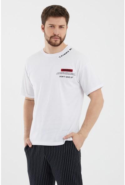 Tarz Cool Beyaz Erkek Cırtlı Nakış Baskılı Kısa Kollu Oversize T-Shirt-Felingststr03S