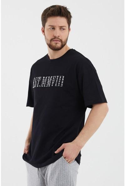 Tarz Cool Siyah Erkek Kabartmalı Frekans Baskı Kısa Kollu Oversize T-Shirt-Eesttstr01S