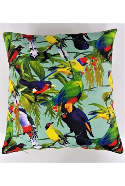 B&M Design Kuş Desenli Kırlent Kılıfı