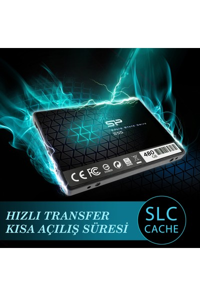 """Silicon Power Siliconpower Slim S55 480GB 560MB-530MBS Sata3 2.5"""" SSD SP480GBSS3S55S25"""