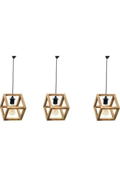 Evim Design Doğal Ahşap Küp Tekli Set (3 Lü Set)
