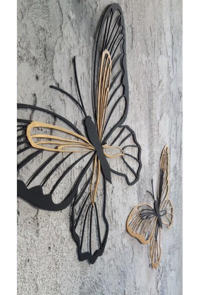 Aduşka Metal Kelebek Seti-Ikili Altın