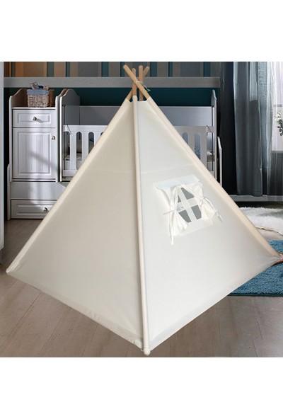 Altev Beyaz Ahşap Çocuk Çadırı Kızılderili Çadırı Oyun Evi Oyun Çadırı Kamp Çadırı Rüya Evi