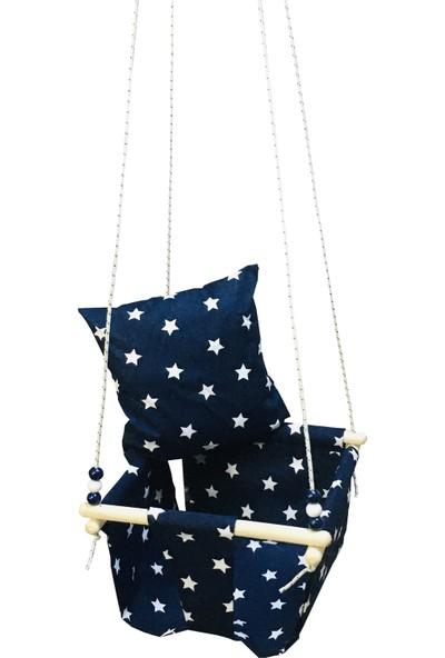 Altev Ahşap Yıldız Desenli Bebek Çocuk Bahçe Salıncağı Hamak Tavan Salıncağı Ev Salıncak Beşik