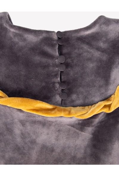 Ozmoz Gri Kadife Sarı Fırfırlı Kız Çocuk Elbise