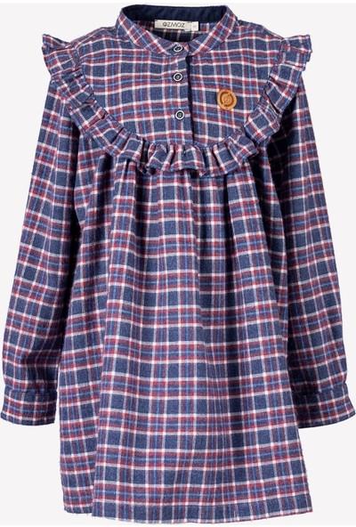 Ozmoz Mavi Ekose Kız Çocuk Elbise