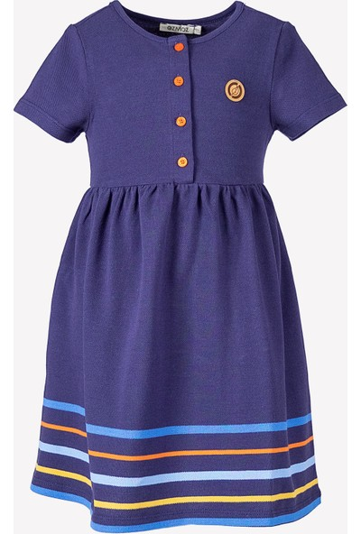 Ozmoz Logolu Pamuklu Pike Polo Kız Çocuk Elbise- Mavi