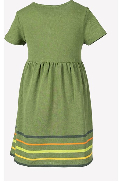 Ozmoz Logolu Pamuklu Pike Polo Kız Çocuk Elbise-Yeşil