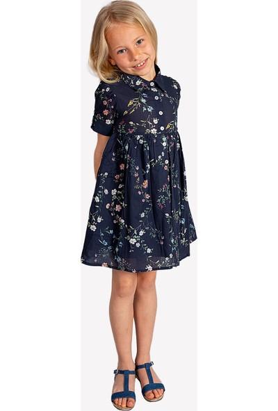 Ozmoz Klasik Yaka Çiçekli Kız Çocuk Elbise