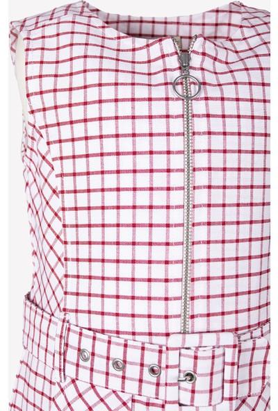 Ozmoz Kırmızı Ekose Kız Çocuk Elbise