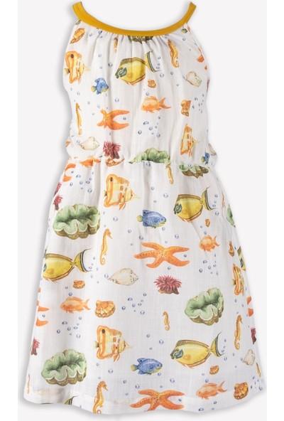 Ozmoz Sırtı Çapraz Askılı Yazlık Kız Çocuk Elbise
