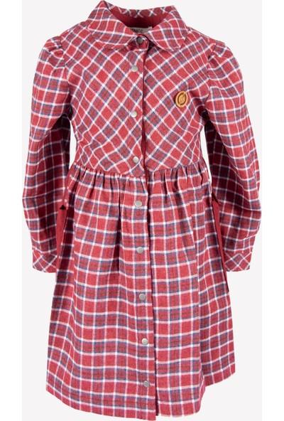 Ozmoz Kız Çocuk Kışlık Kırmızı Ekose Elbise