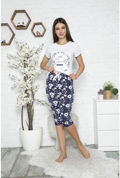 Myben Kadın Beyaz Renkli Çiçek Baskılı Kısa Kollu Kapri Pijama Takımı 20061