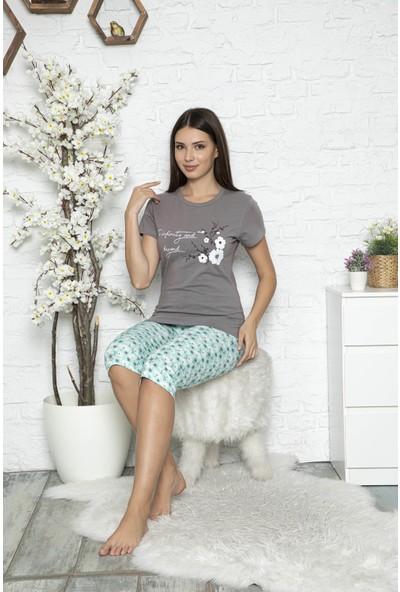Myben Kadın Füme Renkli Çiçek Baskılı Kısa Kollu Kapri Pijama Takımı 20036
