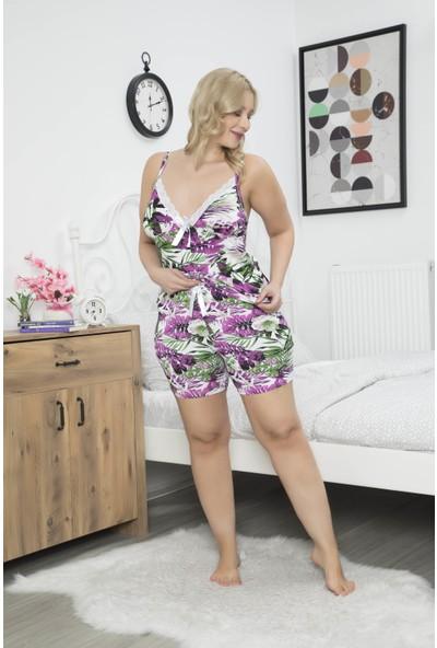 Myben Büyük Beden Şortlu Pijama Takımı Mor Renkli Desenli Askılı Battal Pijama Takımı 60048