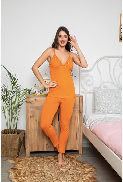 Myben Kadın Turuncu Renkli Dantel Detaylı Şortlu ve Taytlı Pijama Takımı 3'lü Set 75002