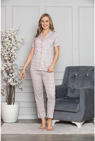 Myben Beyaz Şeritli Gömleği Düğmeli Pamuklu Pembe Renkli Yeni Sezon Kadın Pijama Takımı 365
