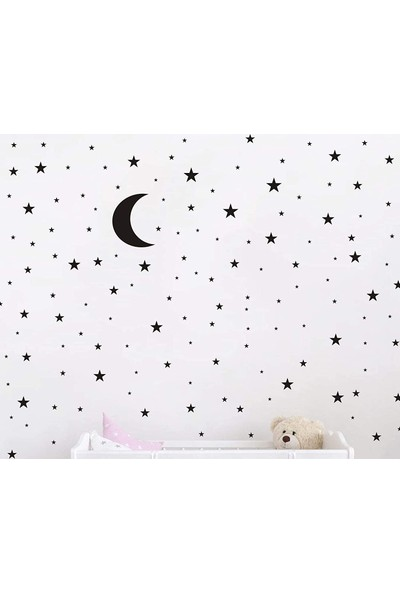 Elka Bayrak Mat Siyah Ay Yıldız Desenli Çocuk ve Bebek Odası Duvar Sticker