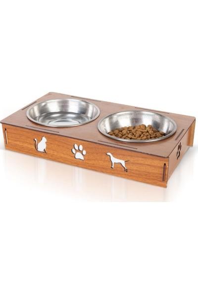 Mavienerji Ahşap Iki Gözlü Kedi Köpek Mama ve Su Kabı Çelik Taslı Kahverengi