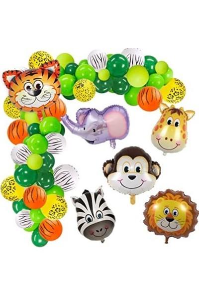 Beysüs 100 Adet Balon 5 Adet Safari Folyo Balon ve Balon Zinciri Safari