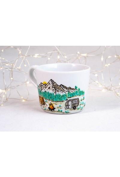 1Se2Ge Handmade Doğa Manzara Porselen El Boyaması Kupa