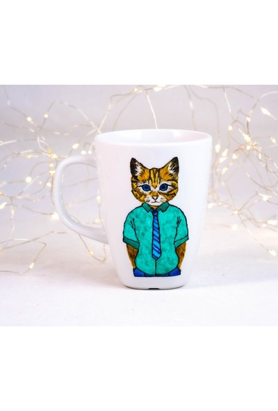 1Se2Ge Handmade Çalışkan Kedi Porselen El Boyaması Kupa