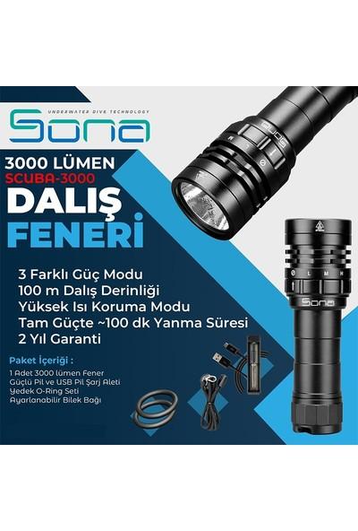 Sona Fener SCUBA-3000, 3000 Lümen