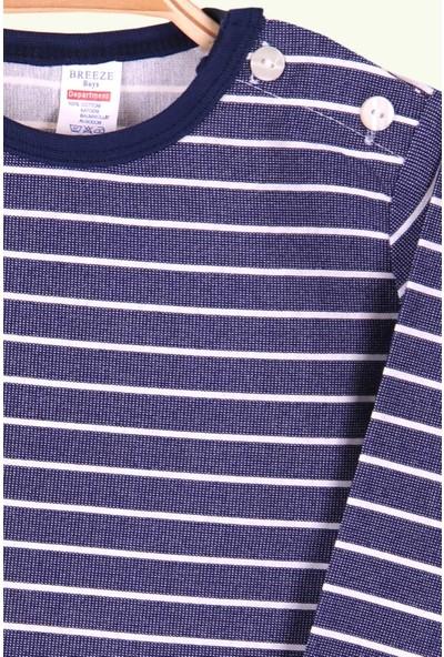 Breeze Erkek Bebek Uzun Kollu Tişört Patlı Çizgili Lacivert (9 Ay-3 Yaş)