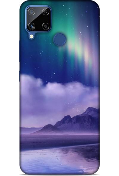 Lopard Oppo Realme C15 Uyumlu Kılıf Gece's (32) Soft Silikon Kılıf Norveç Kuzey Işıkları