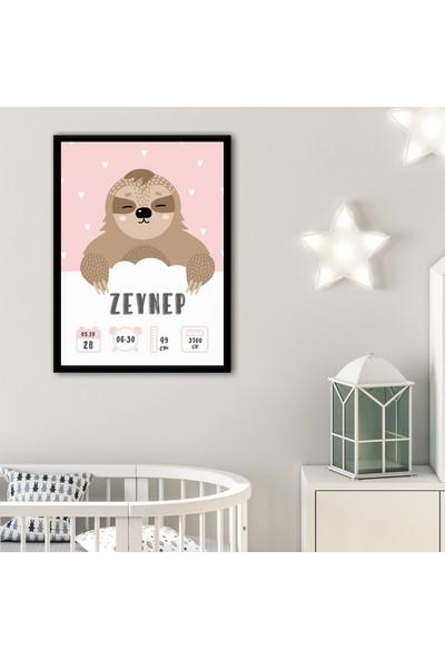 Ren House - Welcome Girl Kişiye Özel Yeni Doğan Bebek Hediye Çerçeveli Poster Tablo