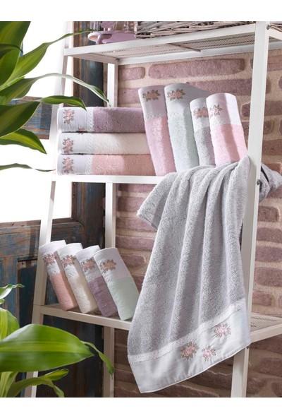 Soley Violetta Bambu Nakışlı Havlu 6lı Set