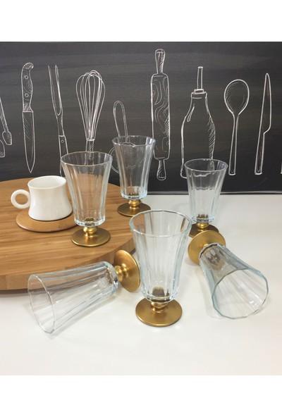 6 Kişilik Altın Yaldızlı Kahve Yanı Su Bardağı