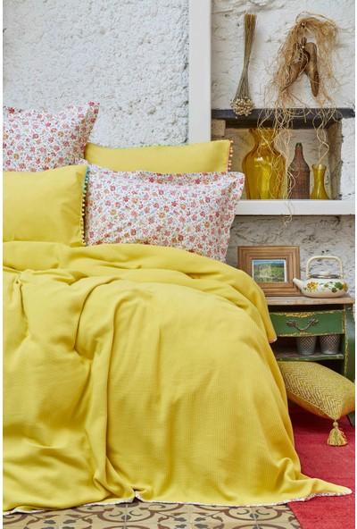 Karaca Home Picata Sarı Ponponlu Çift Kişilik Pike Takımı