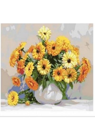 Art Liva Sayılarla Boyama Hobi Seti Tuvalli Aranjman Çiçek 40 x 50 cm