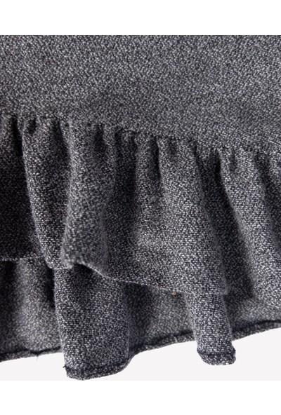 Ozmoz Kız Çocuk Eteği Volanlı Gri Yeni Trend Kışlık Elbise