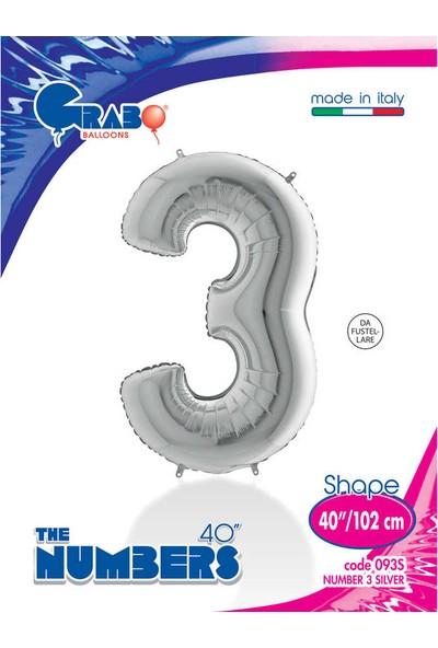 Grabo Rakam Balon Folyo 100 cm Gümüş 3