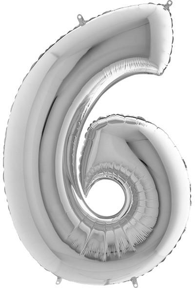 Grabo Rakam Balon Folyo 100 cm Gümüş 6